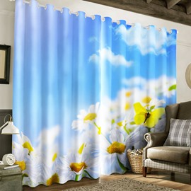 3D White Clouds and Blue Sky with Lovely Flowers and Butterflies Printed 2 Panels Window Drape