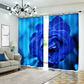 Blue Rose With Dewdrop Vivid Blooming Flower 3D Curtain Drapes