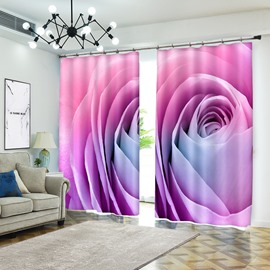 Pink Blooming Bud Rose Vivid Flower 3D Curtain Drapes Curtain