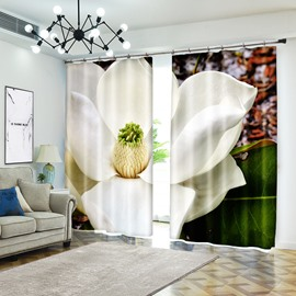 Clear White Lotus Full Screen 3D Curtain Flower Blackout