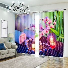 Flower with Lighting Candle Natural Style Curtain for Bedroom