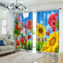 Colorful Flower: Sunflower&Lily &Rose 3D Curtain Blackout