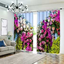 Colorful Flowers Under Sun Rose and Daisy Curtain for Bedroom