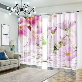 Pink Lily And Gerbera Flower Curtain Blackout for Living Room