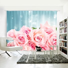 3D Romantic and Pink Roses Custom Living Room and Bedroom Curtain