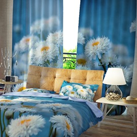 3D Resistant Polyester Spring Nature Romantic Flowers Pattern Digital Printing Curtain