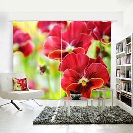 3D Printed Red Moth orchids Polyester Curtain for Dining/ Living Room