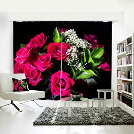 3D Resistant Polyester Fabric Rose Pattern Painted Curtain