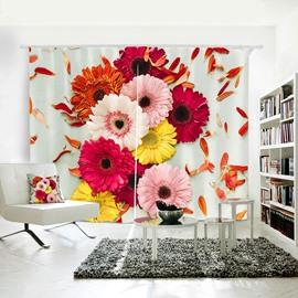 3D Waterproof Spring Flower Pattern Digital Printing Curtain