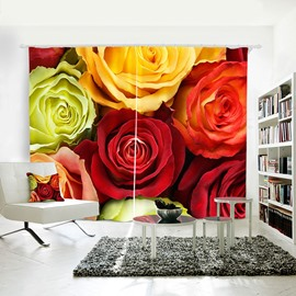 3D Blackout Beautiful Rose Pattern Digital Printing Curtain