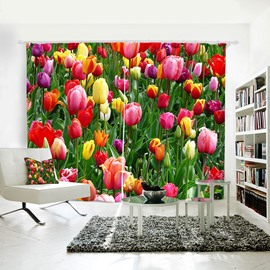 3D Blackout Colorful Flowers Pattern Printing Curtain