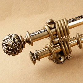 Anti-corrosion Polished Copper Double Curtain Rod Set