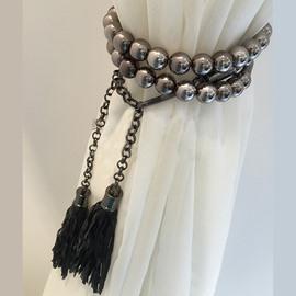 Fashion Black Beads Decorative Curtain Tiebacks