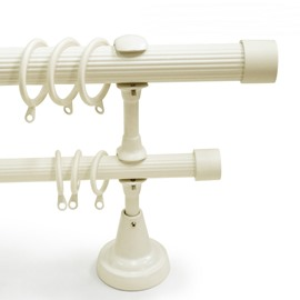 Classical White End Cap Double Window Treatment Rod Set