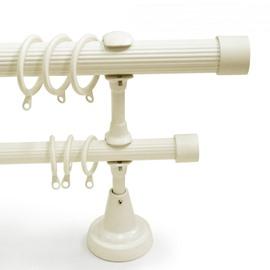 Classical White End Cap Double Window Treatment Rod Set