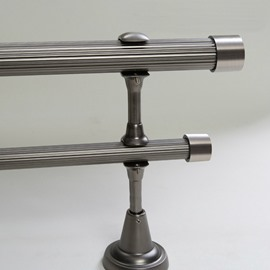 Classical Silvery Color End Cap Double Window Treatment Rod Set