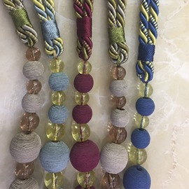Decorative Polyester String Weave Round Balls Modern Style 2 Pieces Curtain Tie Backs