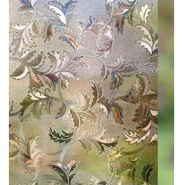 3D Floral Effect Window Film No Glue Static Cling Privacy Glass
