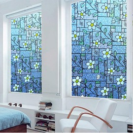Painting Blue Flowers Window Film Stained Glass No-Glue Self Static Cling for Home