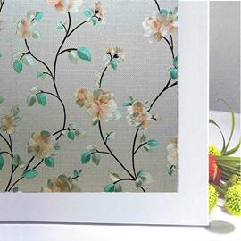 Modern Window Film Flowers and Leaves Static Sticker No-glue Adiabatic Decorative Privacy