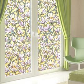 Floral Static Decorative Privacy No Glue Window Films