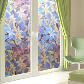 Floral Painting Static Decorative Privacy No Glue Window Films