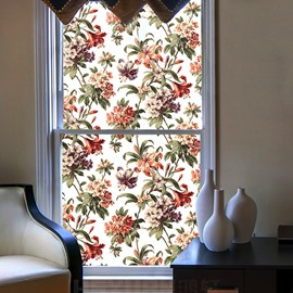 American Traditional Floral Pattern Window Film No-glue Static Sticker