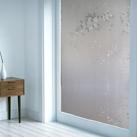 Window Films Solid Floral Static Non-Adhesive Decorative Film