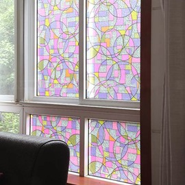 No-Glue Self Static Stained Glass Cling Colorful Painting Window Film
