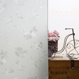 3D Static Decorative Floral Privacy No Glue Window Films for Glass