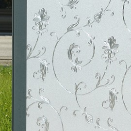 No Glue 3D Floral Effect Window Film Static Cling Privacy Glass