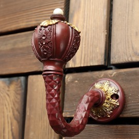 European Luxury 1 Pair Decorative Resin Curtain Hooks Wall Hook for Villa and Club Curtains No Fading