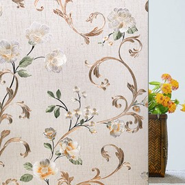 Opaque and Frosted Flowers Blossom Print Window Film Bathroom Film 40*200cm 60*200cm Water-proof and Dust-proof Good Privacy Environment-friendly and Pollution-free Material