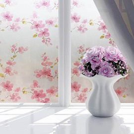 90*200cm Opaque and Frosted Peach Blossom Print Window Film Bathroom Film Water-proof and Dust-proof Good Privacy
