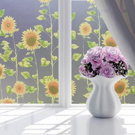 90*200cm Opaque and Frosted Sunflowers Print Window Film Bathroom Film