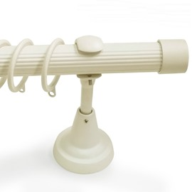 Classical White End Cap Single Window Treatment Rod Set