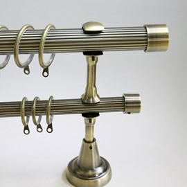 Classical Golden Color End Cap Double Window Treatment Rod Set