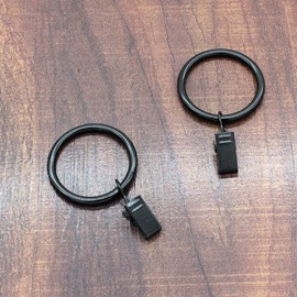 20 Count 1-3/8-Inch Black Metal Curtain Rings with Clip for Windows