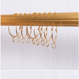 5 Curtain Rings One Set Easy Open and Close Golden Color Eyelet Rings
