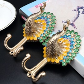 Elegant Colorful Peacock Design 1 Pair Decorative Curtain Tiebacks