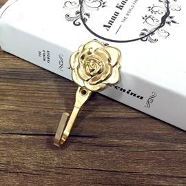 1 Pair Rose Curtain Hooks Wall Hook Door Hook No Rusting with Plating Surface