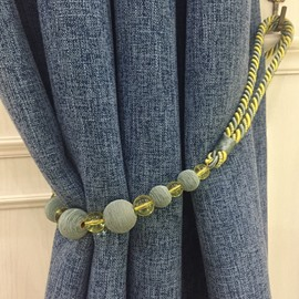 Decorative Polyester String Weave Beautiful Round Balls Korean Style 2 Pieces Curtain Tie Backs