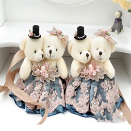Romantic and Creative Plush Cartoon Lovely Couple Bears Modern Style Curtain Tie Backs