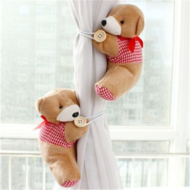 Creative Plush Cartoon Bear Lovely Style One Pair Curtain Buckle Tie Backs