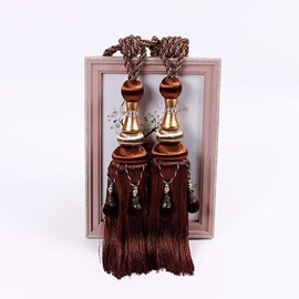 1 Pair Beaded Tassels Curtain Tiebacks Rope Holdbacks for Living room
