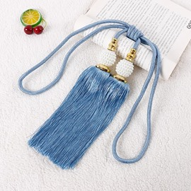Blue Beaded Tassels Curtain Tiebacks Rope Holdbacks