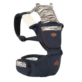 Trendy Zebra Pattern Dark Blue 100% Cotton Baby Carrier