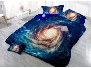 Bright Nebula Digital Print 4-Piece Satin Cotton Duvet Cover Sets