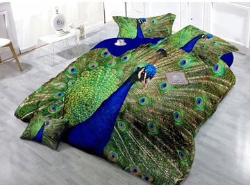 Gem Blue Peacock Digital Print 4-Piece Satin Cotton Duvet Cover Sets