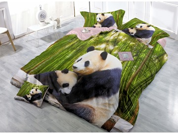 Mother and Baby Panda Digital Print 4-Piece Cotton Silky Duvet Cover Sets